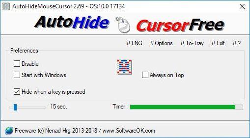 masquer automatiquement le curseur de la souris sous Windows
