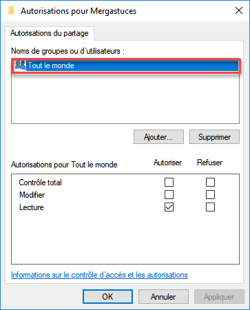 Autorisations de partage windows