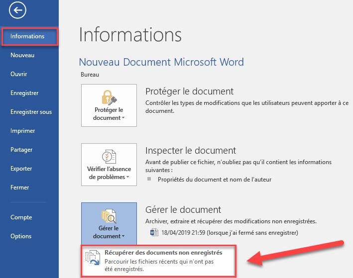 Récupérer les documents non enregistrer