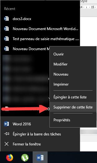 supprimer documents récents word de la barre ses taches