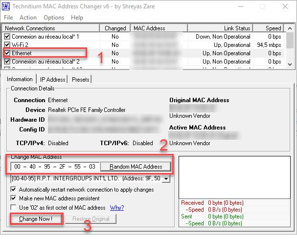 Technitium MAC Address Changer logiciel gratuit