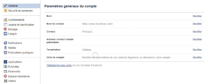 paramètres généraux compte facebook