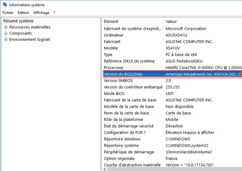 version bios windows 10