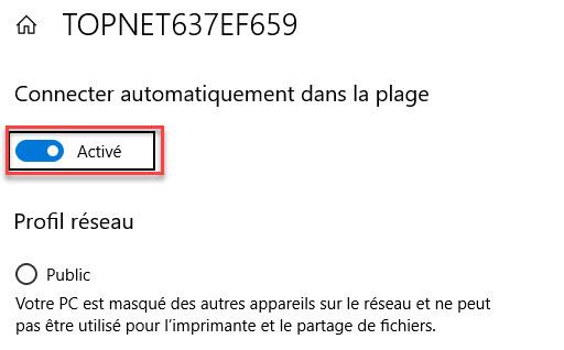 Activer la connexion automatique au wifi dans windows 10