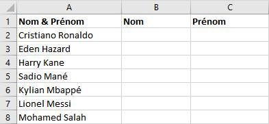 Liste nom et prenom excel
