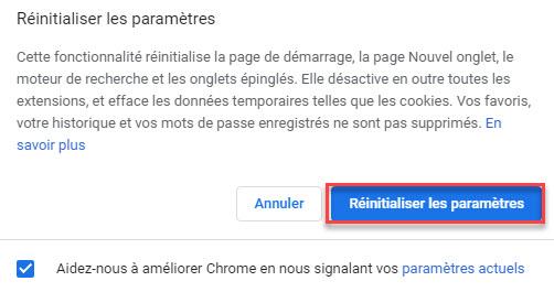 Restaurer les paramètres par défaut google chrome