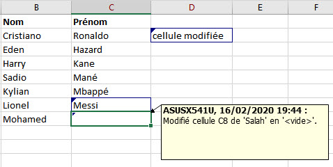 trace de modification excel