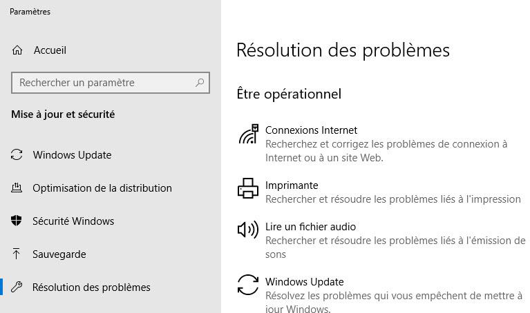 résolution problèmes windows 10