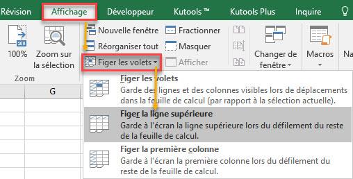 figer la première ligne dans Excel
