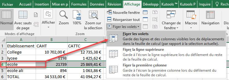figer plusieurs lignes Excel