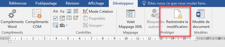 Restreindre la modification fichier word