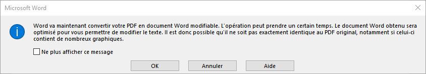 Ouvrir document pdf dans word