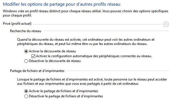 paramètres de partage windows 10