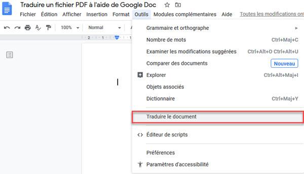 Traduire un fichier PDF à l'aide de Google Doc