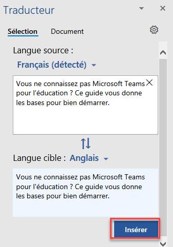 traduire une section de votre document PDF