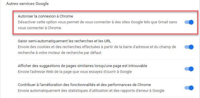 Désactiver la connexion automatique dans Chrome