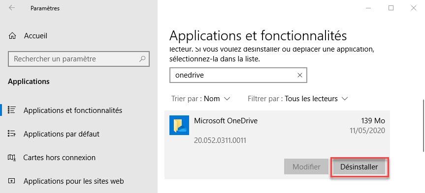 desinstaller Microsoft OneDrive
