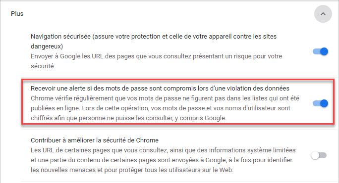 Fonctionnalités de confidentialité de Chrome