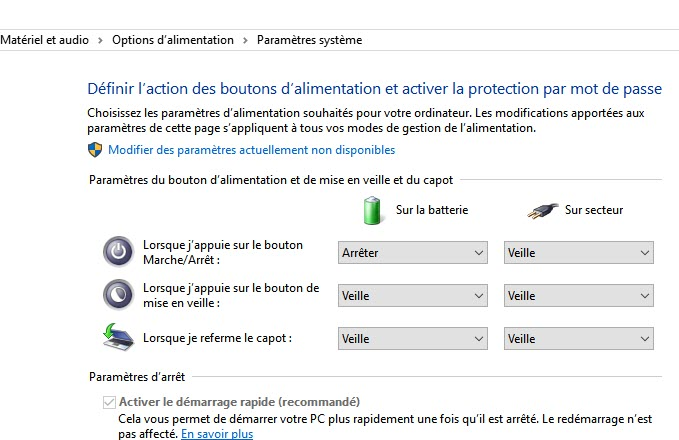 options d'alimentation windows 10