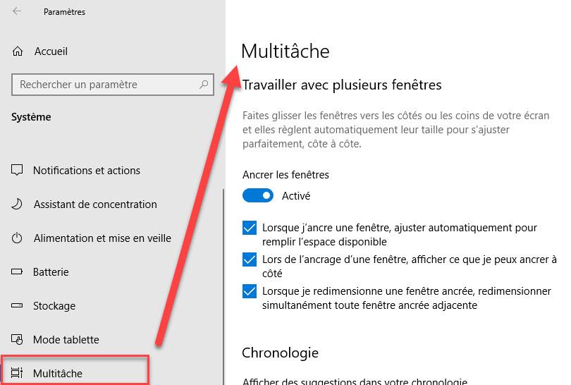 activer multitaches windows 10