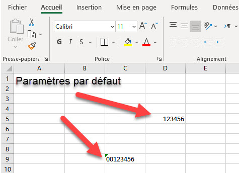 ajouter zéro devant le numéro dans Excel