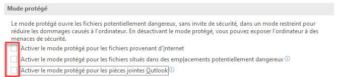 Désactiver le mode protégé dans l'option Excel