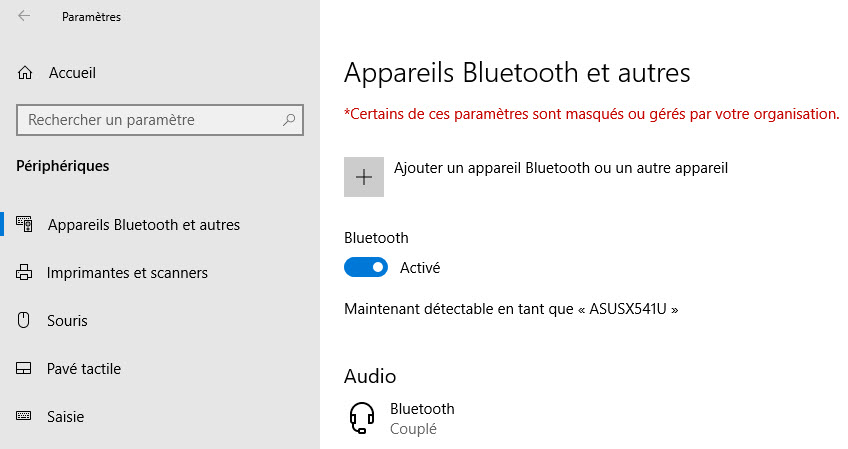 apareils bluetooth et autres windows 10
