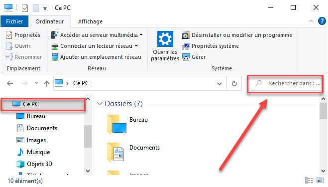 trouver un fichier à l'aide de l'Explorateur Windows