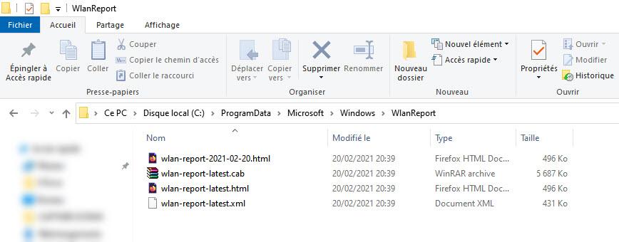 Fichier de rapport historique wifi windows 10