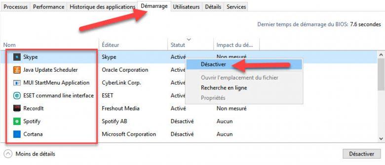 désactiver logiciel demarrage windows 10