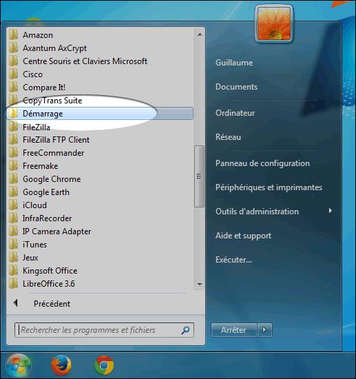dossier de démarrage de Windows